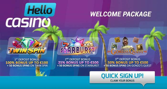 hello casino welcome package
